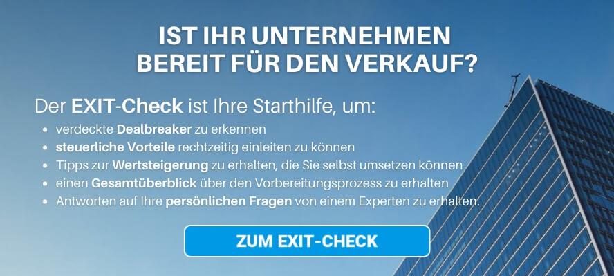 Banner EXIT Check: Ist ihr Unternehmen bereit für den Verkauf?